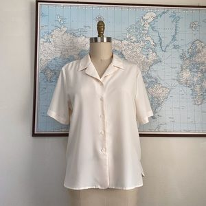 Vintage Short Sleeve Button Down Cream Blouse